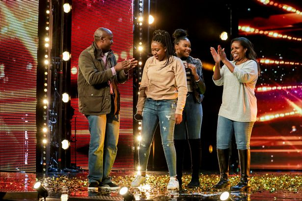 Sarah Ikumu is surrounded by her family who included her dad Alex Ikumu Gatoto and her mum and sister after she got the golden buzzer from Simon Cowell.